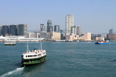Ferry crossing at Hong Kong harbour Royalty Free Stock Image