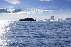 Ferry crossing Ibiza Formentera sunset Es Vedra Royalty Free Stock Image