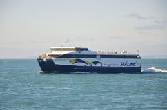 Ferry crossing the ocean at Kangaroo Island, South Australia Royalty Free Stock Images