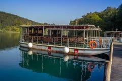 Ferry crossing on Plitvice lakes. Croatia. stock image