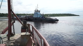 Ferry crossing the river Ob. City Of Salekhard. stock footage