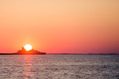 Ferry crossing during sunset. Atlantic Ocean Royalty Free Stock Image