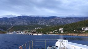 Ferry crossing to the island of Rab in Croatia. Lopar is located on the island of Rab in the Kvarner Archipelago. It is one of the most beautiful and forested royalty free stock photos