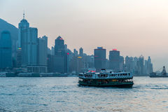 Ferry crossing Victoria Bay in Hong Kong, China royalty free stock photo