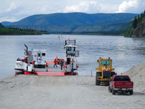 A ferry for crossing the yukon river Royalty Free Stock Images