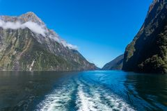 Ferry Cruise in Milford Sound, New Zealand. Ferry cruise in Milford Sound, South Island of New Zealand stock image