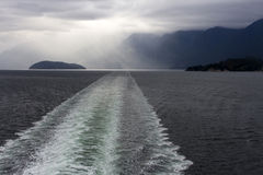 Ferry Cruise Ship Boat Wake Howe Sound Stormy Sky Royalty Free Stock Photos