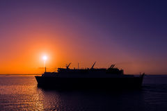 Ferry cruising into the Caribbean sunset Trinidad and Tobago Royalty Free Stock Photography