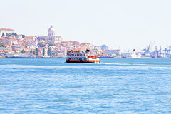 Ferry cruising on the river Tejo near Lisbon Portugal Stock Photo
