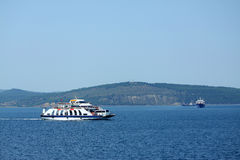 Ferry in Dardanelles strait Royalty Free Stock Photography