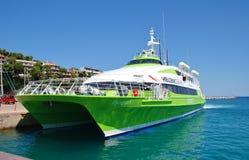 Ferry de Patitiri, île d'Alonissos Photo libre de droits