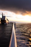 Ferry deck. On a ferry deck at sea in the early morning royalty free stock images