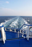 On the ferry deck. View on the sea on the ferry stern royalty free stock image