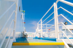 Ferry deck. Ferry boat deck under clear blue sky Stock Images