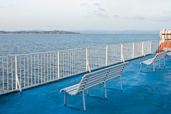 Ferry deck. Deck of passenger ferry travelling in the Mediterranean sea Stock Image