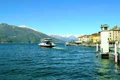 Ferry departure from Bellagio in spring. Stock Photo