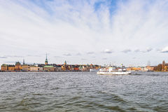 The ferry Djurgarden going to the Stockholm Old town Stock Photos