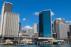 Ferry docking in front of Circular Quay Railway station surround Royalty Free Stock Images
