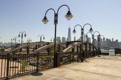 Ferry docks and New York City skyline, Jersey City Royalty Free Stock Photo