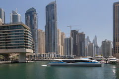 Ferry in Dubai. Ferry in gulf of district Marina in Dubai Royalty Free Stock Photos