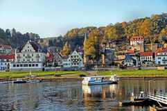 A ferry on the Elbe river Royalty Free Stock Photo