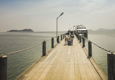 Ferry at the end of pier on Ko Samui island Stock Photo
