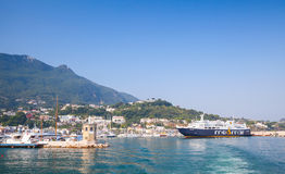Ferry enters Casamicciola Terme port of Ischia Stock Photo
