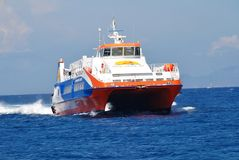 Ferry exprès de Dodekanisos, Nisyros Photos stock