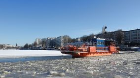 Ferry `Fiori` on the river Aura, february day. Turku, Finland. TURKU, FINLAND - FEBRUARY 23, 2018: Ferry `Fiori` on the river Aura, february day stock video footage