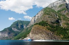 Ferry on the Fjord Stock Image