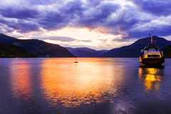 Ferry in fjord Hardanger Norway Stock Image