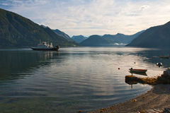 The ferry through fjord, morning Royalty Free Stock Images