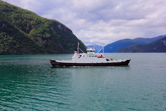 Ferry on the fjord, norway Stock Photos