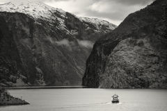 Ferry in Fjord, Norway Stock Photography