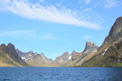 Ferry  in the fjord of Reine in Lofoten Stock Image