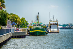 Ferry floating on river in savannah georgia usa Stock Photography