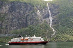 Ferry on Geirangerfjord Royalty Free Stock Photography