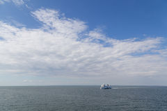 Ferry between Germany and Denmark on Baltic Sea. Puttgarden, Germany - July 26, 2016: A Ferry on the Baltic Sea between Puttgarden in Germany and Rodby in Royalty Free Stock Photos