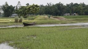 Ferry ghat Bangladesh Village scene river with small boat. Bangladeshi Nature Scene green field , Small river small boat Stock Images