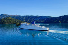 Ferry gliding along the Cook Strait Royalty Free Stock Photos