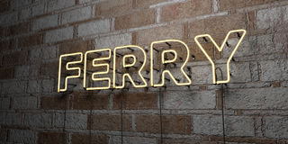 FERRY - Glowing Neon Sign on stonework wall - 3D rendered royalty free stock illustration. Can be used for online banner ads and direct mailers Royalty Free Stock Photos