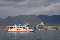 The ferry going to the island of Miyajima (Itsukushima), Japan Royalty Free Stock Images