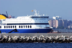 Ferry in the harbor. Waiting to leave stock images