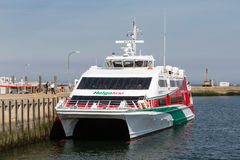 Ferry in harbor Helgoland ready for departure to Cuxhaven, Germa Royalty Free Stock Photos