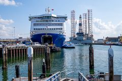 Ferry in the harbor of IJmuiden, Netherlands preparing to leave royalty free stock image