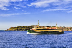 Ferry Harbour SHead. Passenger ferry in the middle of Sydney harbour en route to Manly from city wharf transporting commuters on a sunny day in view of South Stock Photography