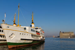 Ferry and Haydarpasa Train Station Royalty Free Stock Photo