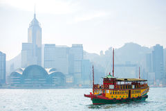 Ferry in Hong Kong with Victoria Harbour in background Stock Image