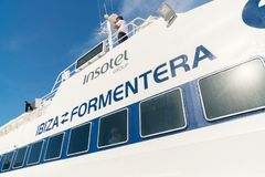 Ferry Ibiza to Formentera, Spain stock photography