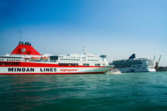 Ferry Ikarus Palace of Greek company Minoan Lines in Venice Royalty Free Stock Images